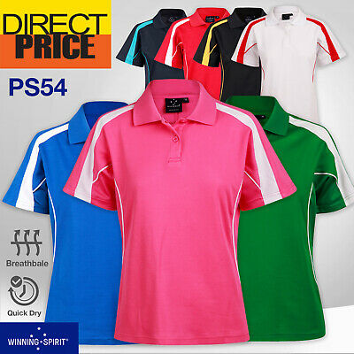Ladies Polo Casual Short Sleeve Sports Golf Contrast Breathable UPF 30 20 Colors
