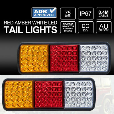 2x LED Tail Lights 12V Brake Reverse 75LED Trailer Truck UTE Caravan ADR Approve