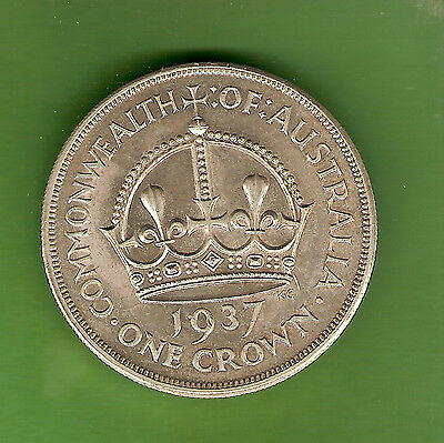 #d123. Australian 1937 Sterling Silver Crown, Five Shilling Coin