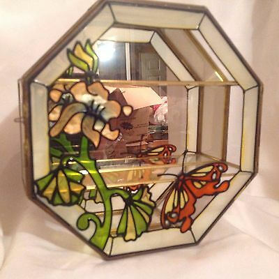 Vintage Stained Glass Butterfly Brass Mirror Wall Curio Cabinet Display Case EUC