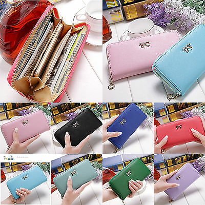 Fashion Lady Women Leather Wallet bowknot Clutch Zip Bag Card Holder Long Purse
