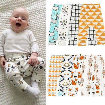 Newborn Kids Baby Tight Leggings Toddler Boys Girls Cotton Pants Trousers 0-24 M