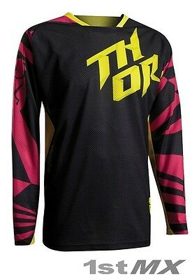 Thor Fuse Air Dazz Vented Kids Motocross Jersey Magenta Yellow Youth XLarge
