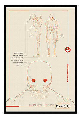 Framed Star Wars Rogue One K-250 Plans Poster New
