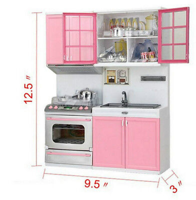 Sale Kids Kitchen Fun Toys Pretend Play Cooker Cooking Cabinet Stove Set Toy UK