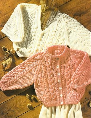 Knitting Pattern Babys Cable Cardigans DK Lovely Chunky Knit