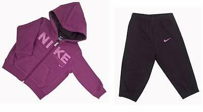 Nike Girls Fleece Jog Suit Hooded Tracksuit Infant Hoodie Joggers Purple New