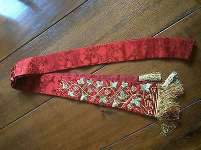 priest clergy catholic traditional red silk superbly embroidered stole