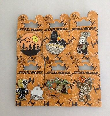 Disney Parks Star Wars 2015/2016 Halloween Pins Lot Of 6 ~ R2-D2 ~ C-3Po ~ Yoda
