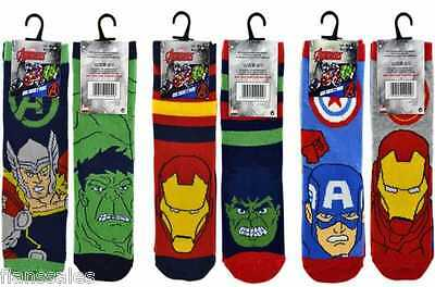 6 Pair Pack Of Boys Official Marvel Comics Avenger Character Design Socks