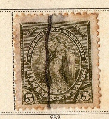 El Salvador 1896 Early Issue Fine Used 5c. 094084