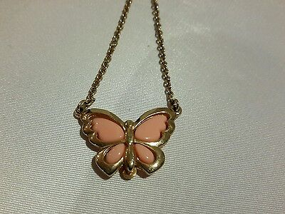 Vtg avon signed necklace w/ gold tone chain butterfly removable pink back