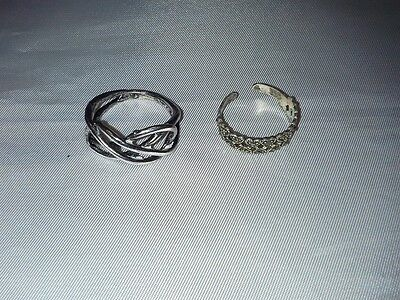 Lot of 2 sterling silver heart & infinite rings 3.74g size 5 adjustable & 6 1/2