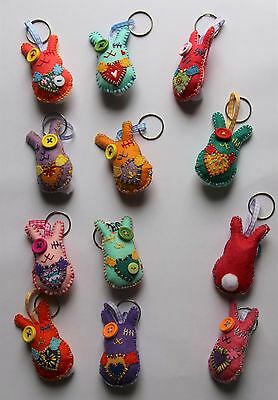 "PaTchyZ Original Felt Creations Random Key Chain Rabbit Button Bunny 2""x2.75"""