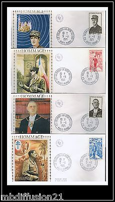 1971//4x FDC-**HOMMAGE GENERAL DE GAULLE-OBL.COLOMBEY**TIMBRE.Y/T.1695/8