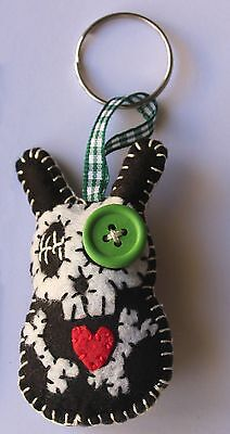 "PaTchyZ Original Felt Creations Random Key Chain Button Skull Animals 2""x2.75"""