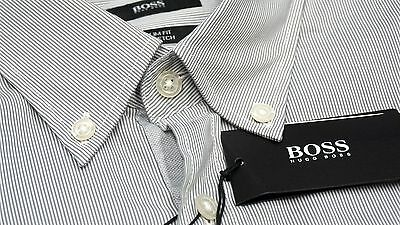 a797f4c34 NWT $155 Hugo Boss Slim Fit Stretch Grey Shirt Mens M L XL 2XL Short Sleeve  NEW