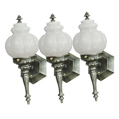 Set of Three Torch Style Wall Sconces Pewter Vintage Porch Lights (ANT-701)