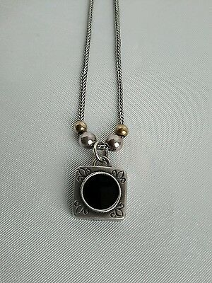 925 Sterling silver stamped onyx circle square design necklace