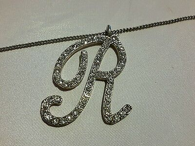 Vtg bedazzled rhinestone letter R pendant silver tone necklace 18 1/2""
