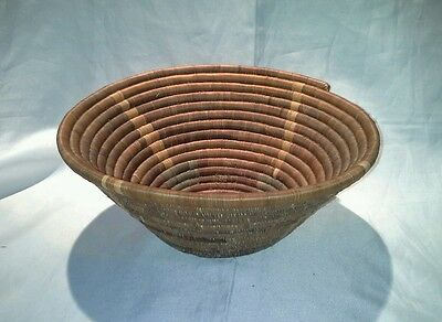 Handmade Bowl from Africa handwoven Basket Basketvweave Brown
