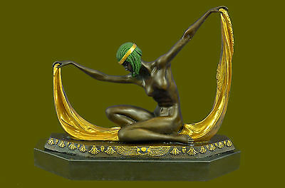 C. Mirval Signed Bronze Statue Dancing Girl Art Deco Figure Marble Base Figurine