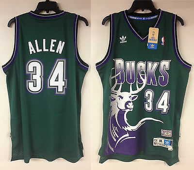 8b472fd06 Ray Allen Milwaukee Bucks Adidas Soul Swingman NBA Vintage 1996-1997 Jersey