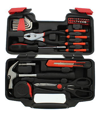 ABN 39 Piece General Household Hand Tool Kit Starter Set in Plastic Storage Case