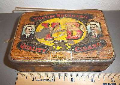 VINTAGE Yocum Brothers YB quality cigars tobacco tin, great colors & graphics
