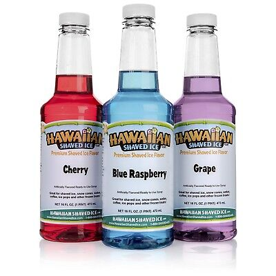 Hawaiian Shaved Ice 3 Flavor Pack of Snow Cone Syrup 3 Pints