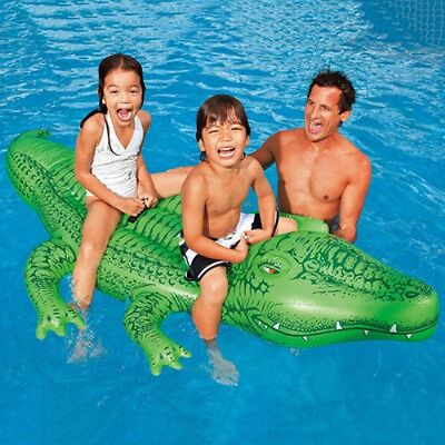 New INTEX Giant Inflatable Crocodile POOL TOY INFLATABLE RIDE ON 2 Handles 200cm