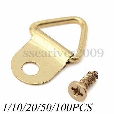 1/10/20/50/100 D-Ring Painting Picture Frame Hanging Triangle Hanger Hook+Screw