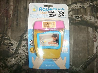 New AQUEDUCK Faucet Extender Toddler Hand Washing ~ Yellow/Pink