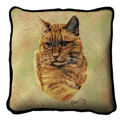 "Red Tabby Cat Pillow Pure Country Weavers 17""x17"" Cotton Kitten"