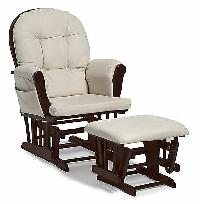 Baby Nursery Glider Rocker Rocking Chair Espresso Finish & with Ottoman NEW