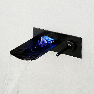 LED Oil Rubbed Bronze Bathroom Faucet One Hole/Handle Sink Mixer Tap