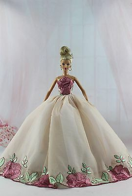 Fashion Royalty Flower Princess Party  Dress/Gown For Barbie Doll Silkstone