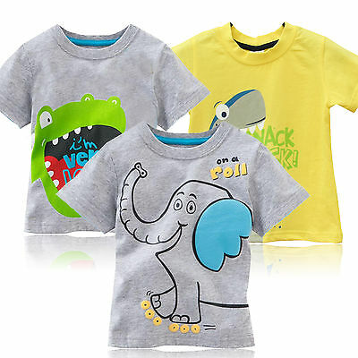 Baby Kids Boys Cartoon Short Sleeve T-shirt Tops 1-6 Years Summer Cute Outfits