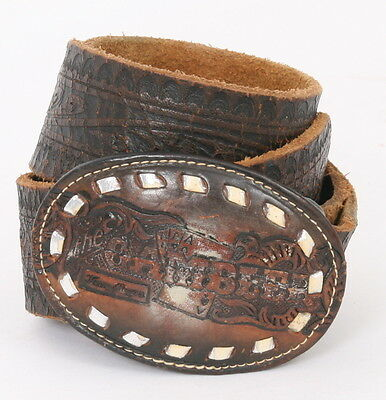 TOOLED Leather WOVEN Buckle KENNY ROGERS Brown Mens 38' 42' Vintage Belt