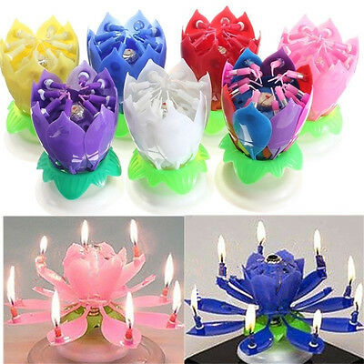 1x Romantic Musical Lotus Flower Rotating Happy Birthday Party Gift Candle Light