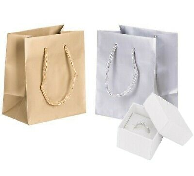 JEWELLERY LITTLE FAVOUR SMALL GIFT BAGS - SILVER or GOLD GLOSS LAMINATED BAG