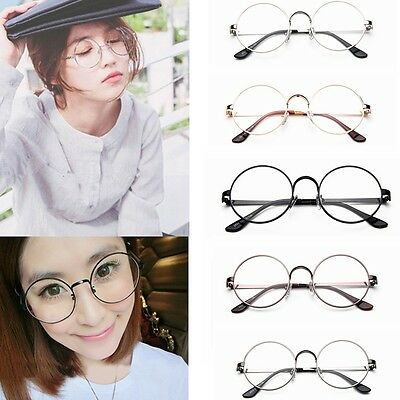 Retro Eyeglasses Big Round Metal Frame Clear Lens Glasses Nerd Spectacles S2U