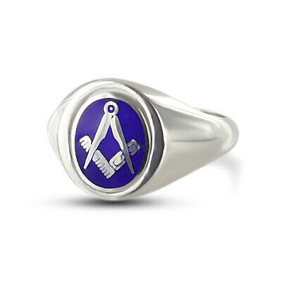 Solid Silver Square and Compass Reversible Head Masonic Ring Without G- Blue