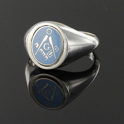 Solid Silver Square and Compass Swivel Head Masonic Ring- Light Blue with G