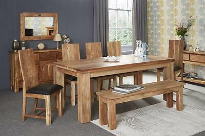 Maine Chunky Rustic Teak 150cm Long Seating Kitchen Bench