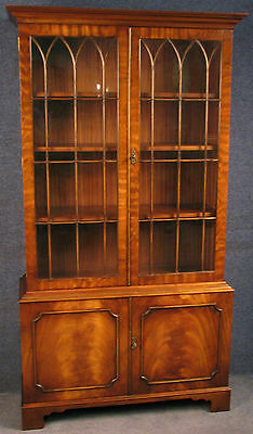 Reprodux Bevan Funnell Tall Flame Mahogany Astragal Glazed Bookcase / Cabinet