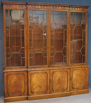 Reprodux Bevan Funnell Large Mahogany Breakfront Display Cabinet On Cupboard