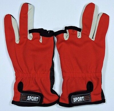 Fishing Gloves 3 Cut Fingers Anti Slip Red