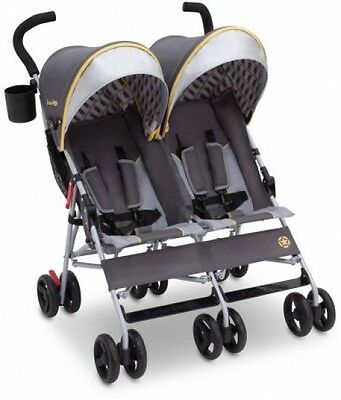 Baby Double Stroller Twin Umbrella Canopy Lightweight Reclining 5 Point Belt