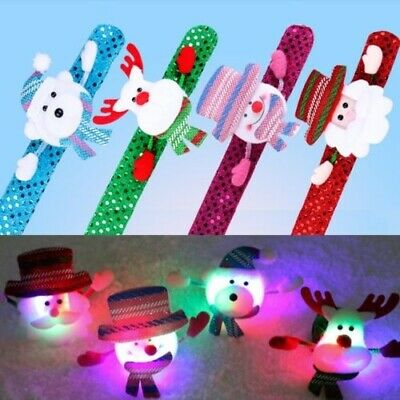 LED Flash Light Santa Claus Bracelet Christmas Snowman Elk Bear Xmas Party Decor